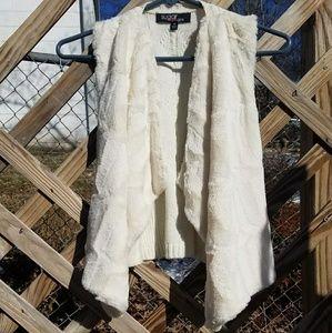 Girls White Furry Vest